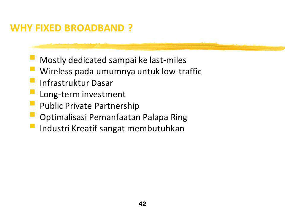WHY FIXED BROADBAND Mostly dedicated sampai ke last-miles