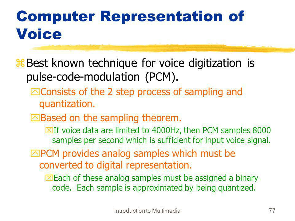 Computer Representation of Voice