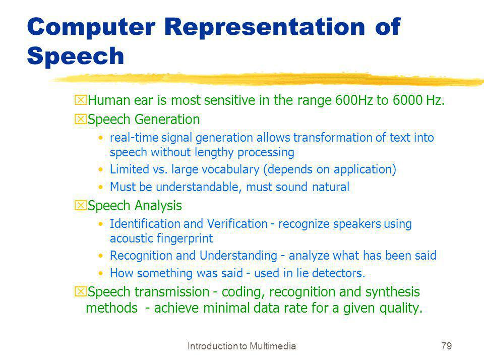 Computer Representation of Speech