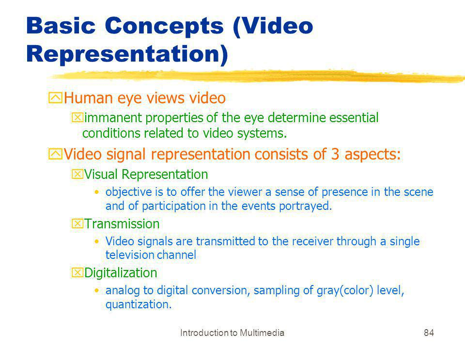 Basic Concepts (Video Representation)