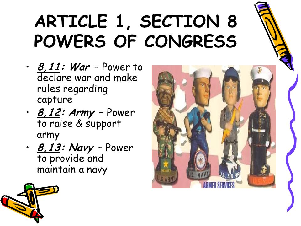 ARTICLE 1, SECTION 8 POWERS OF CONGRESS