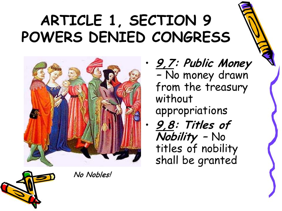 ARTICLE 1, SECTION 9 POWERS DENIED CONGRESS