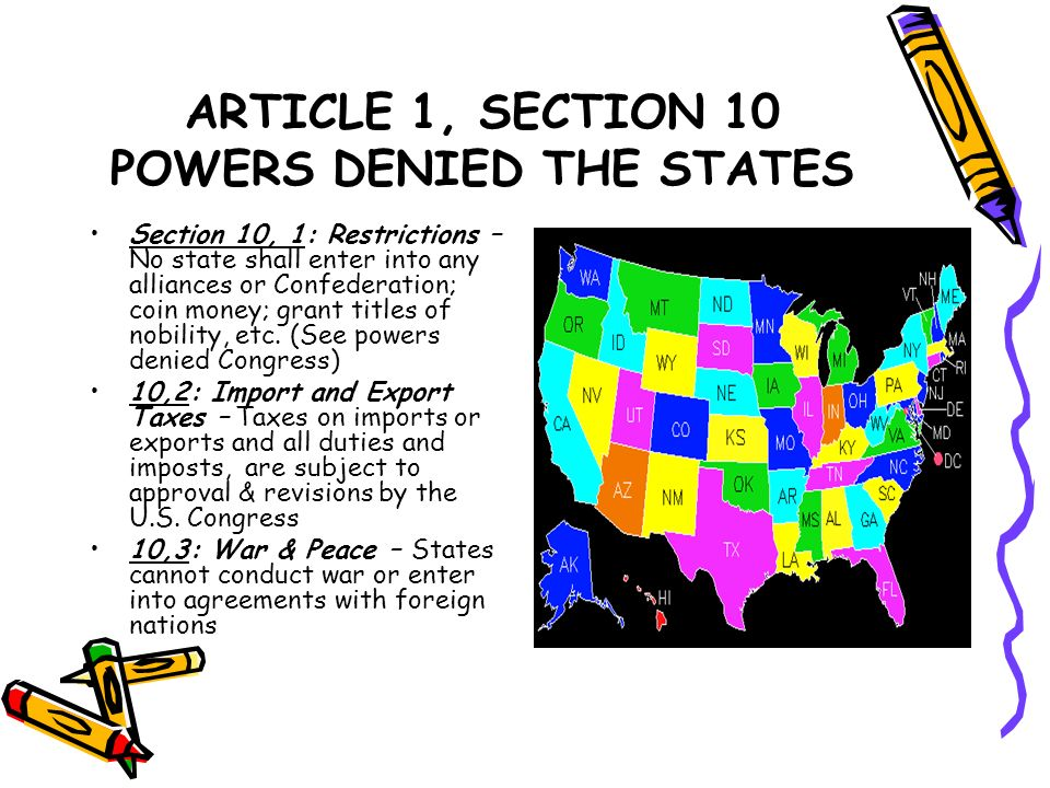 ARTICLE 1, SECTION 10 POWERS DENIED THE STATES
