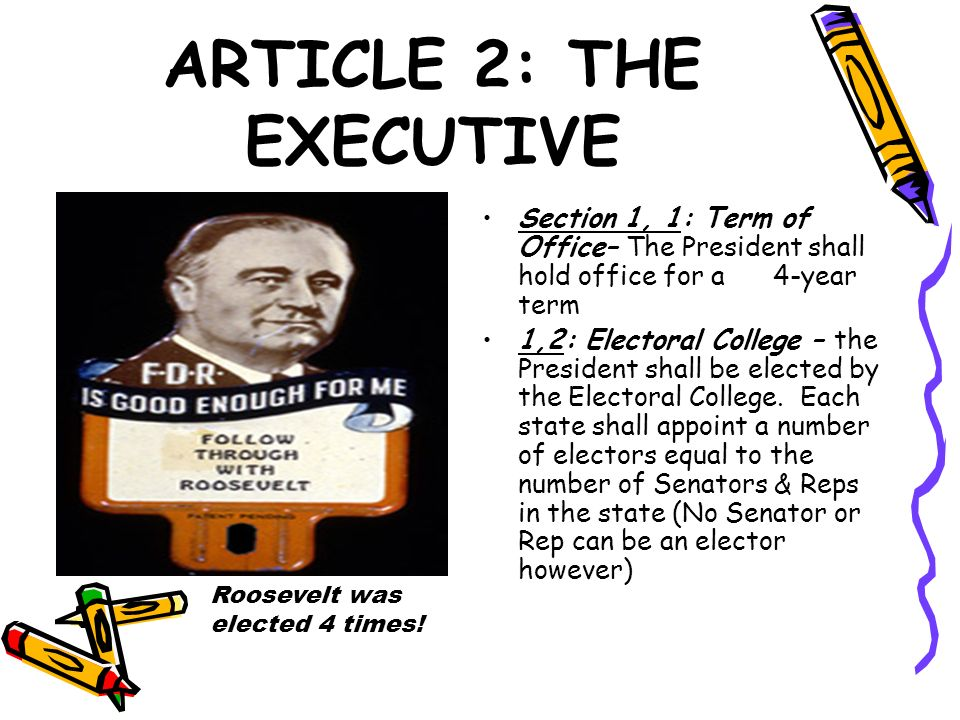 ARTICLE 2: THE EXECUTIVE