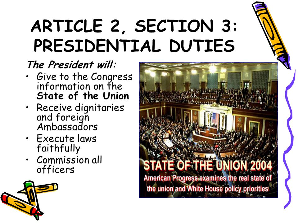 ARTICLE 2, SECTION 3: PRESIDENTIAL DUTIES