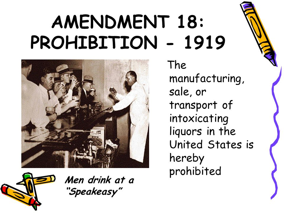 AMENDMENT 18: PROHIBITION - 1919