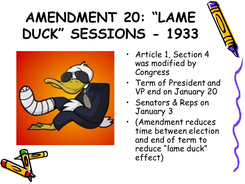 AMENDMENT 20: LAME DUCK SESSIONS - 1933