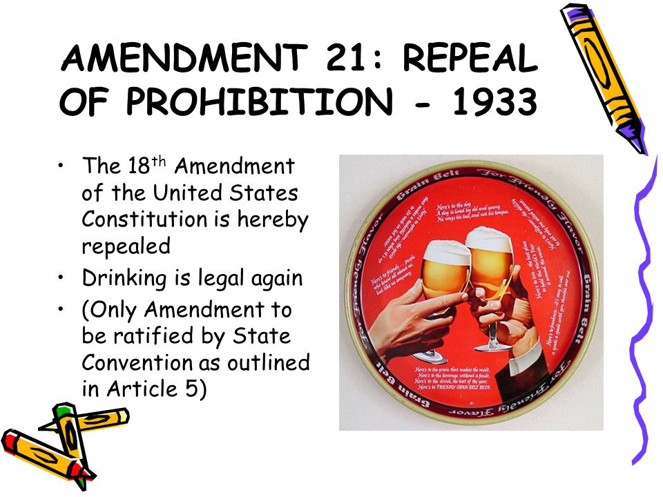 AMENDMENT 21: REPEAL OF PROHIBITION - 1933