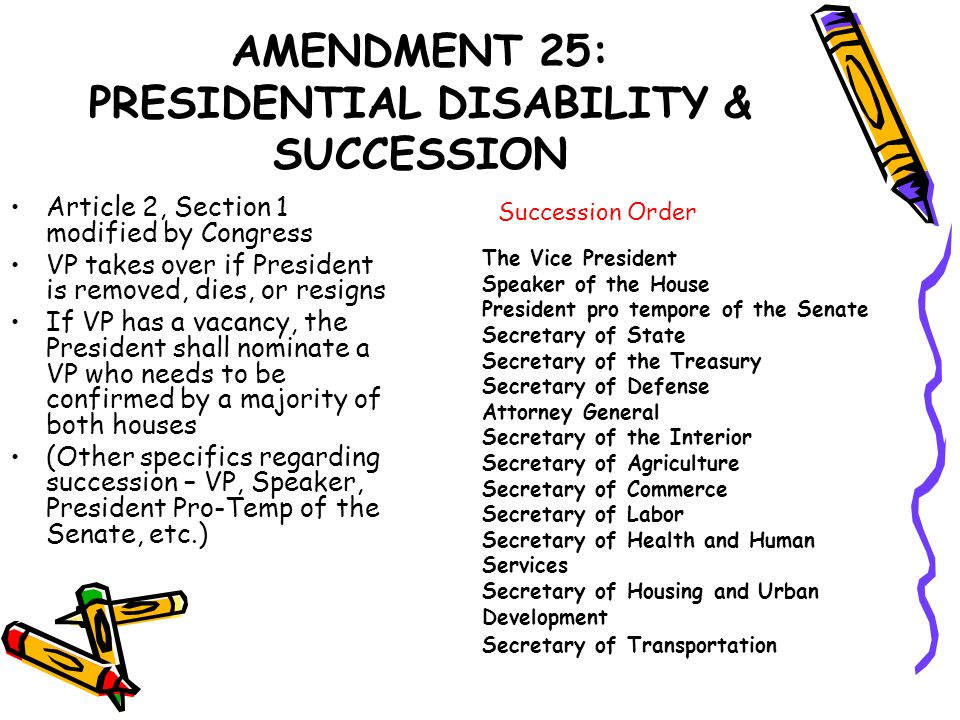 AMENDMENT 25: PRESIDENTIAL DISABILITY & SUCCESSION