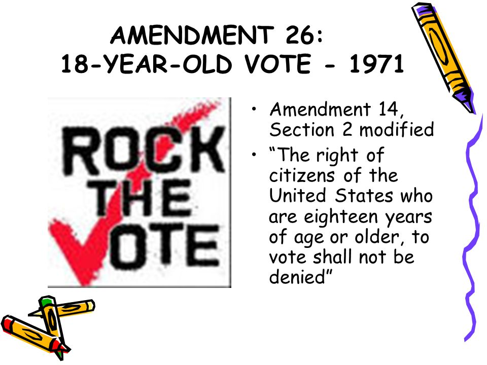 AMENDMENT 26: 18-YEAR-OLD VOTE - 1971