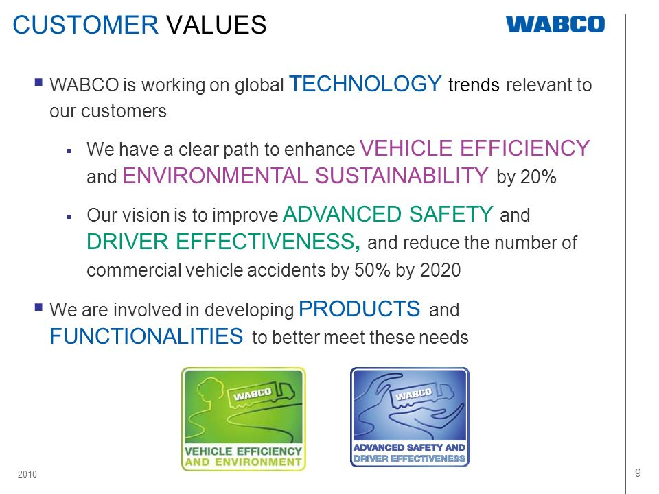 CUSTOMER VALUES WABCO is working on global TECHNOLOGY trends relevant to our customers.
