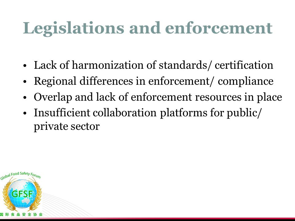 Legislations and enforcement