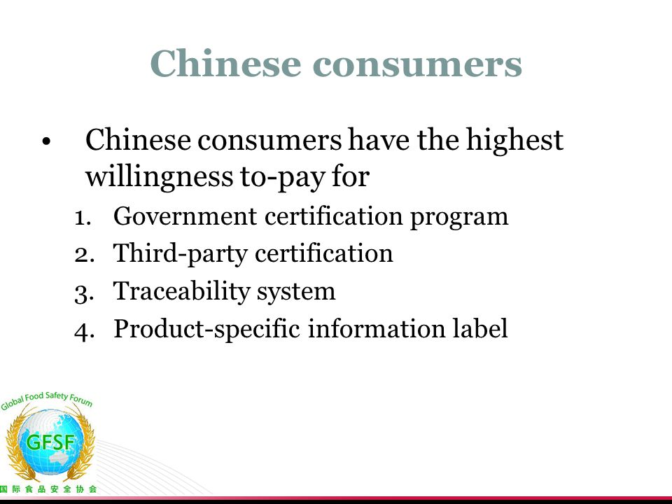 Chinese consumers Chinese consumers have the highest willingness to-pay for. Government certification program.