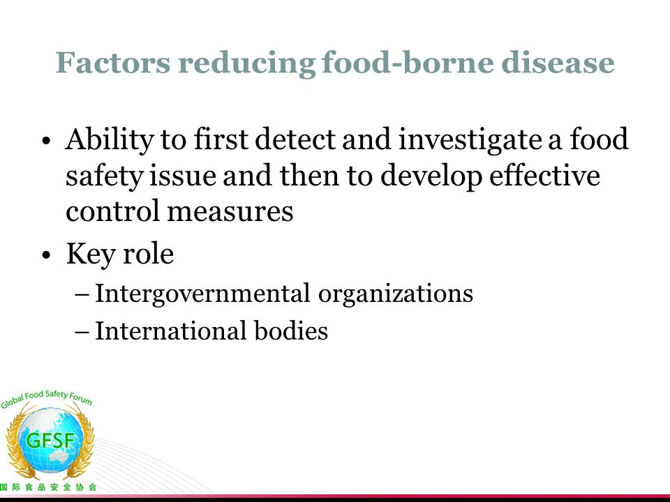 Factors reducing food-borne disease