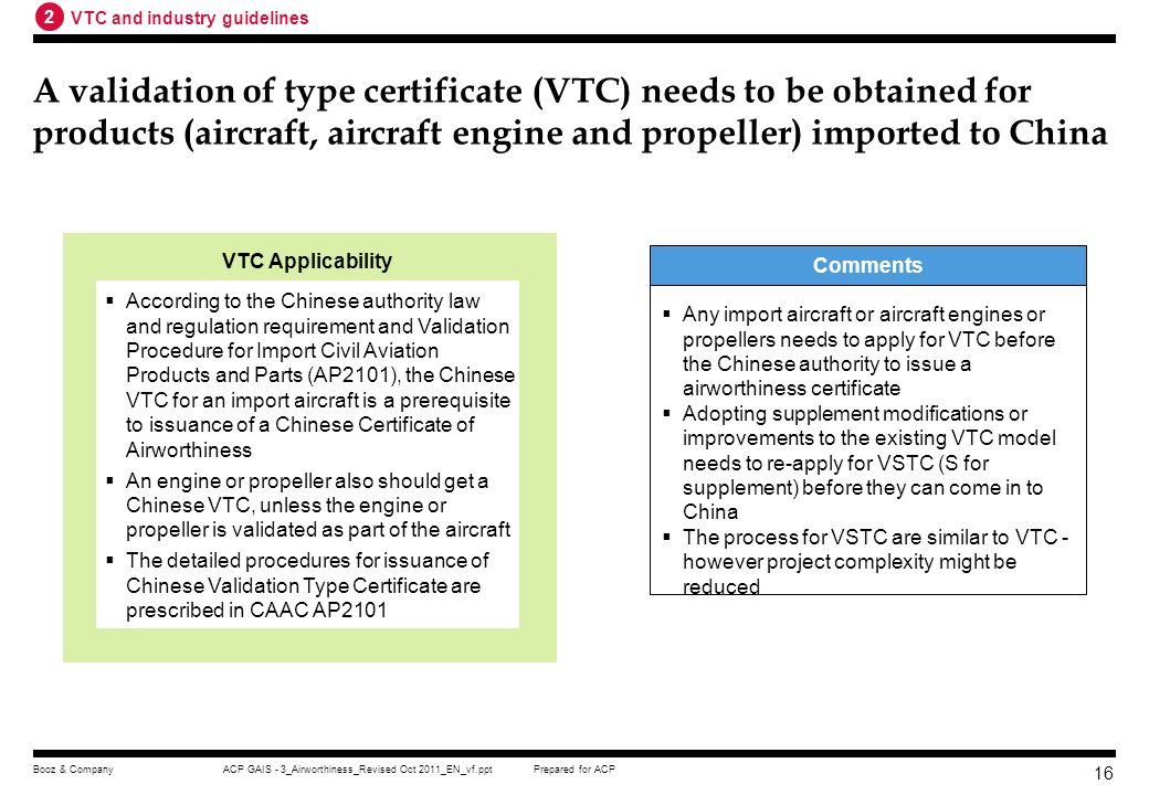 2 VTC and industry guidelines.