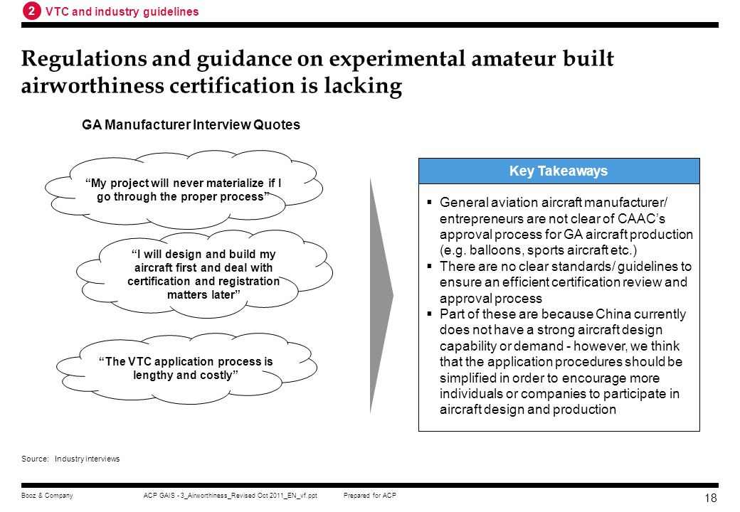 2 VTC and industry guidelines. Regulations and guidance on experimental amateur built airworthiness certification is lacking.
