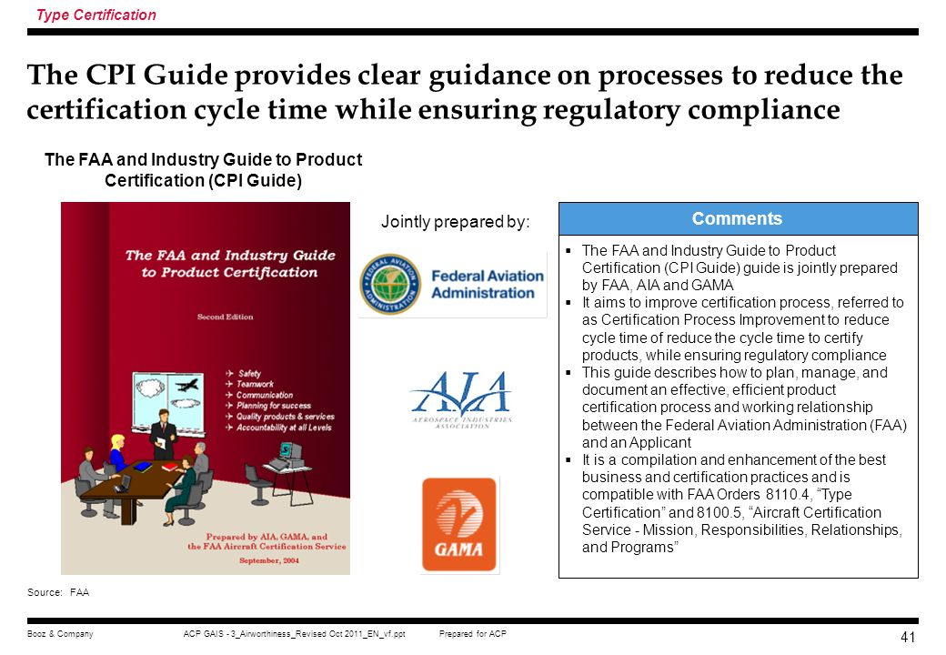 The FAA and Industry Guide to Product Certification (CPI Guide)
