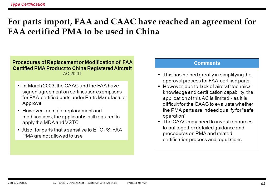 Type Certification For parts import, FAA and CAAC have reached an agreement for FAA certified PMA to be used in China.