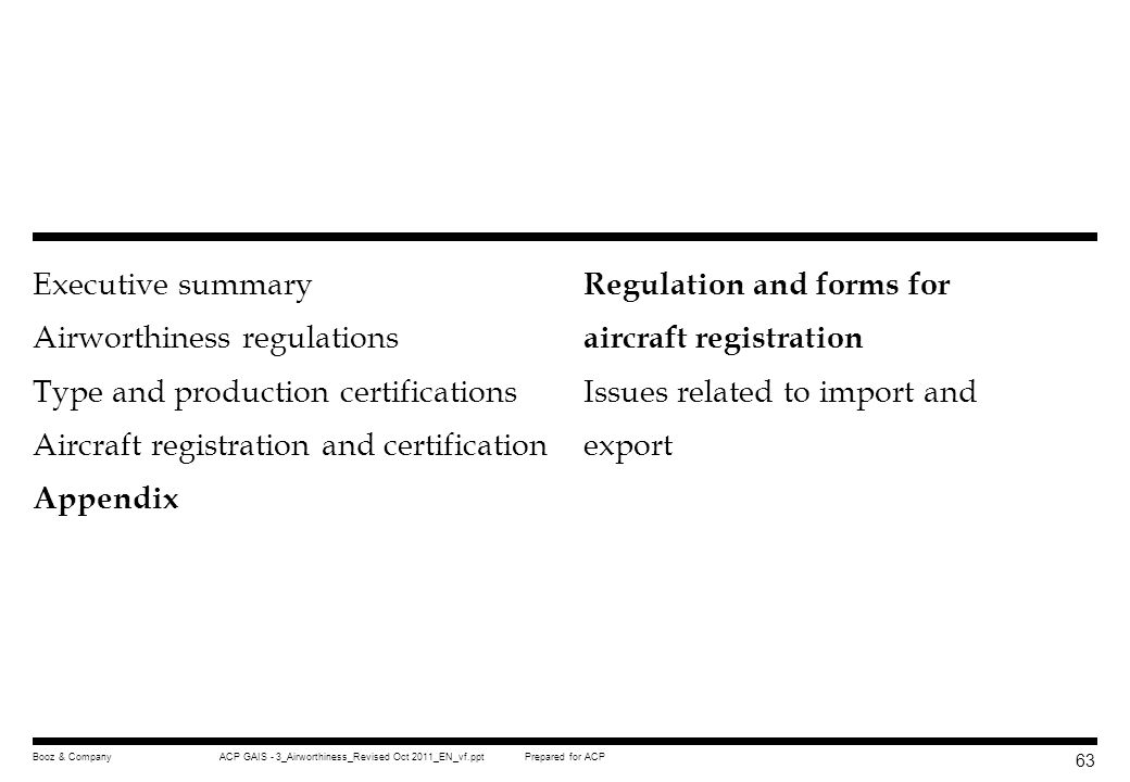 Regulation and forms for aircraft registration
