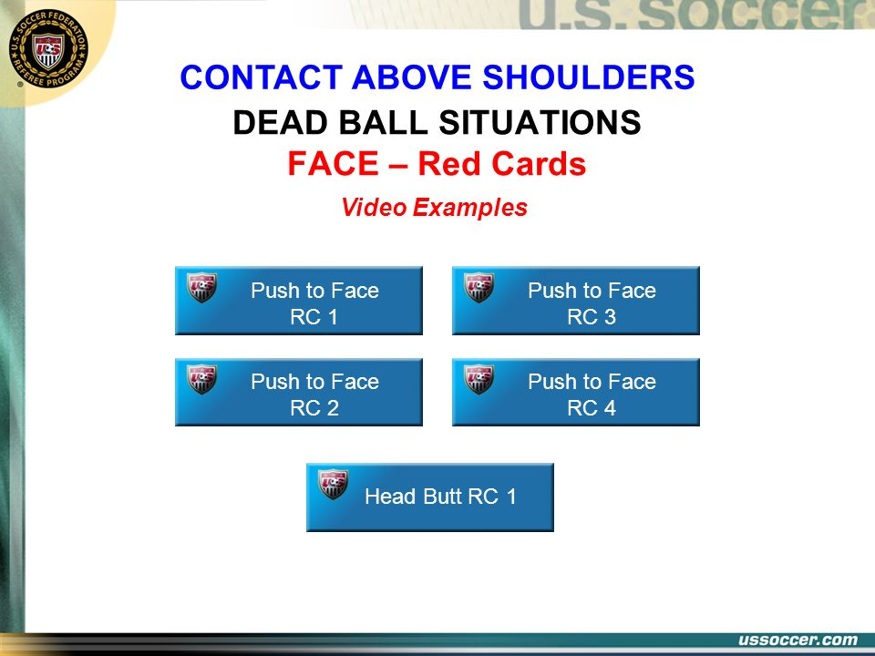 DEAD BALL SITUATIONS FACE – Red Cards