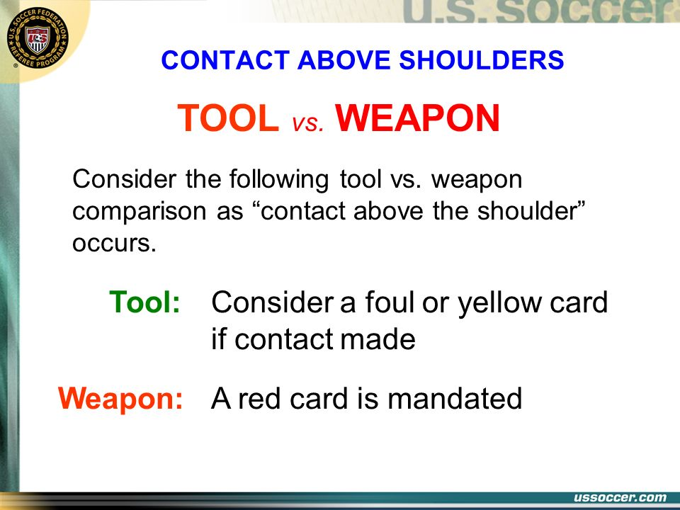 CONTACT ABOVE SHOULDERS