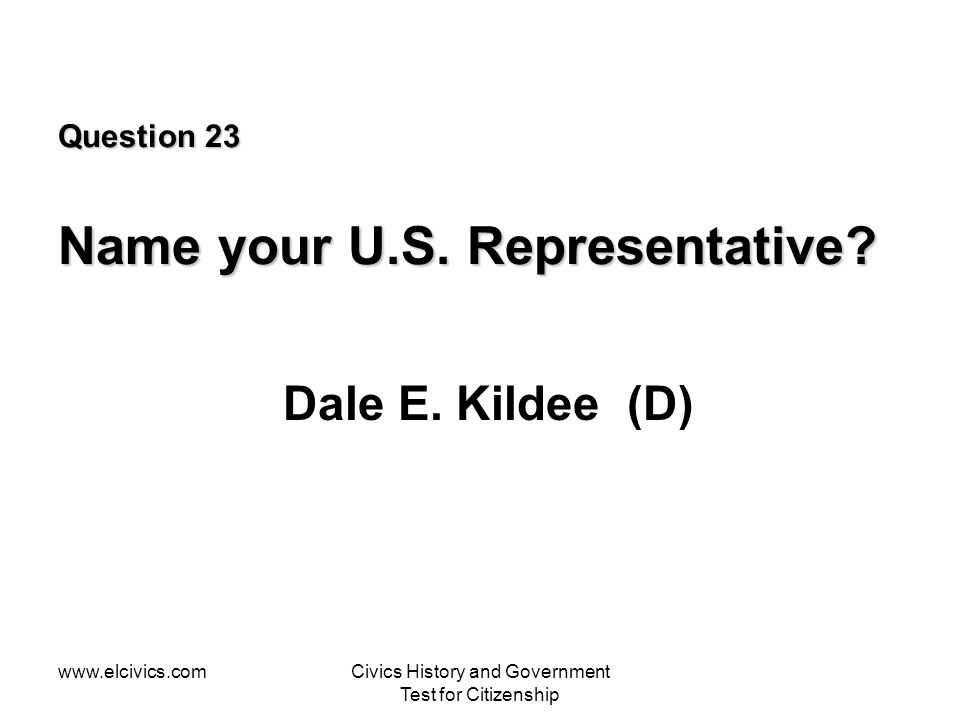 Question 23 Name your U.S. Representative