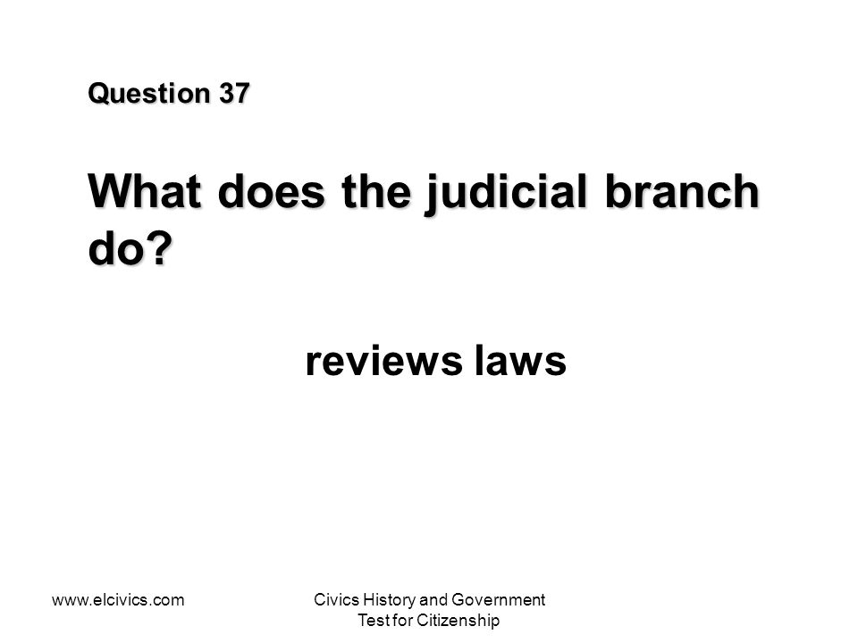 Question 37 What does the judicial branch do