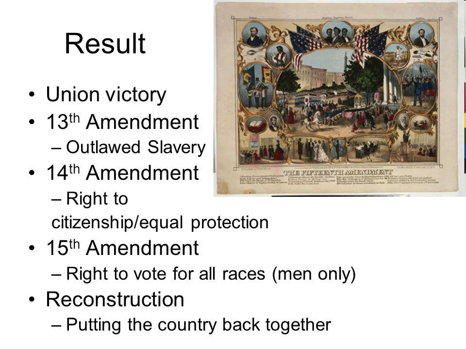 Result Union victory 13th Amendment 14th Amendment 15th Amendment