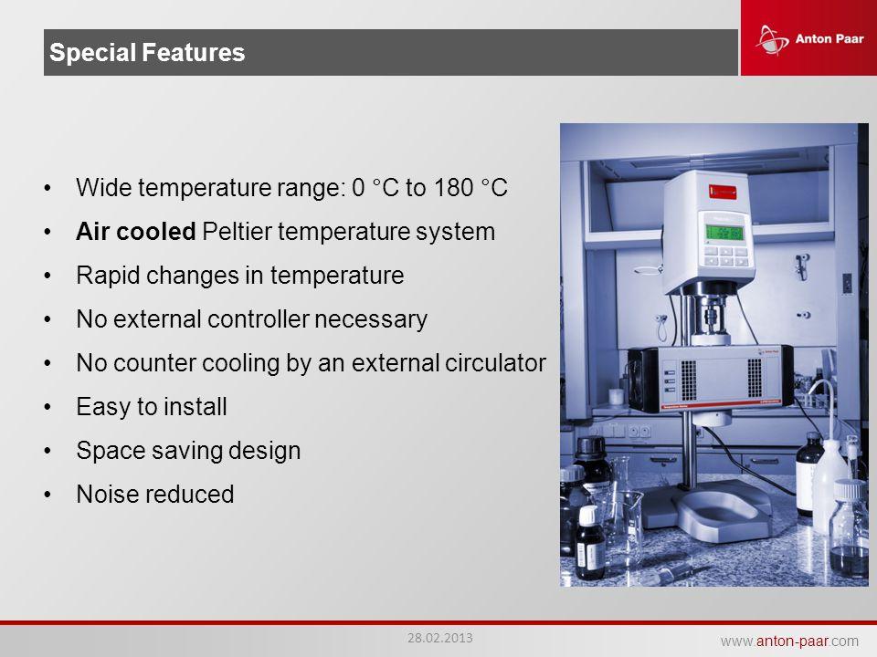 Wide temperature range: 0 °C to 180 °C