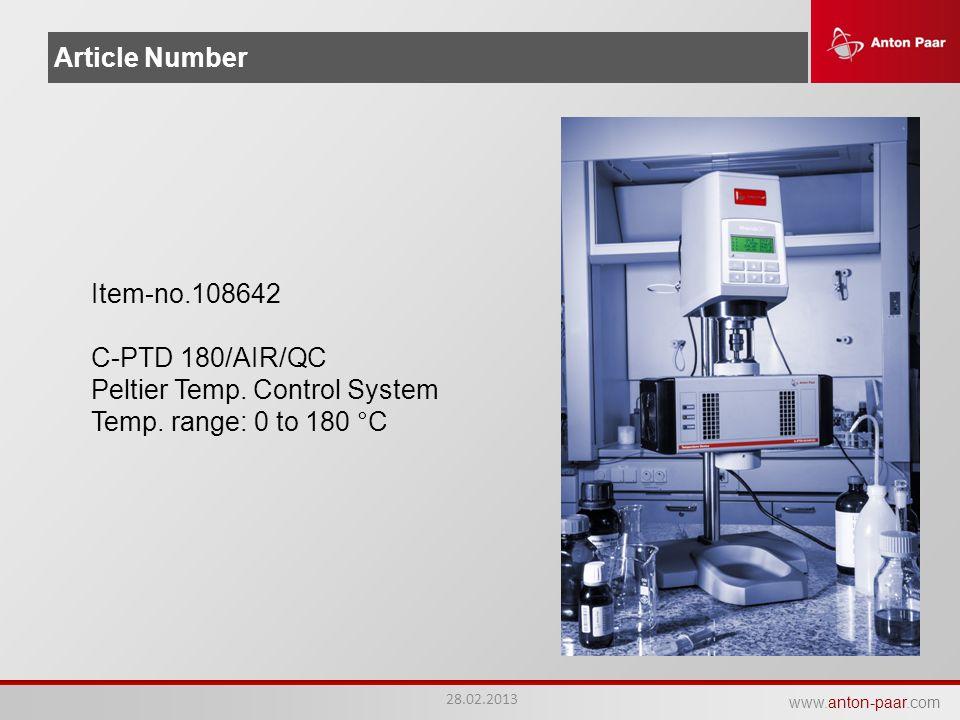 Peltier Temp. Control System Temp. range: 0 to 180 °C