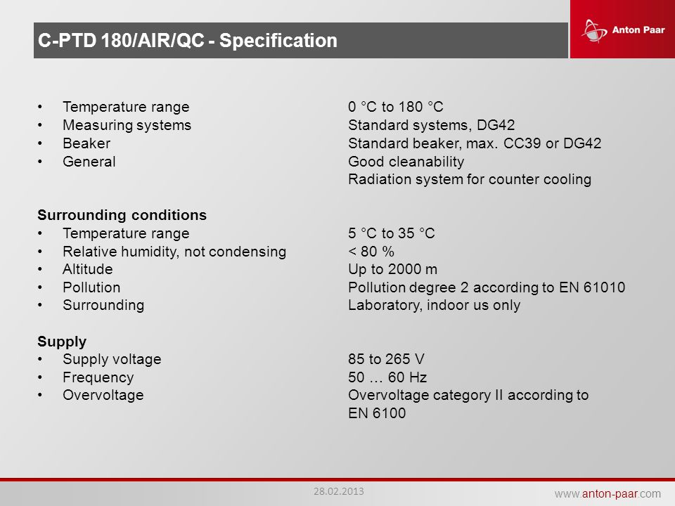 C-PTD 180/AIR/QC - Specification