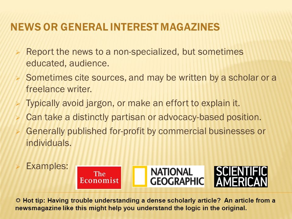NEWS OR GENERAL INTEREST MAGAZINES