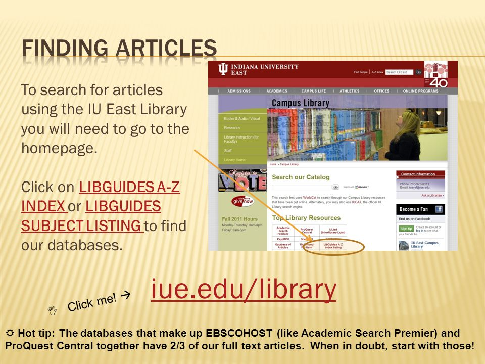 iue.edu/library Finding Articles