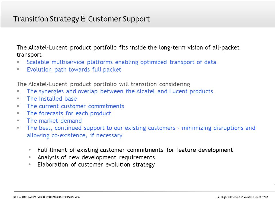 Transition Strategy & Customer Support