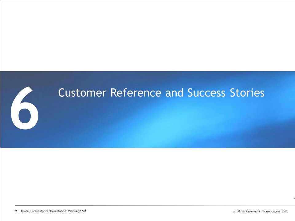 6 Customer Reference and Success Stories Divider Section Break Pages