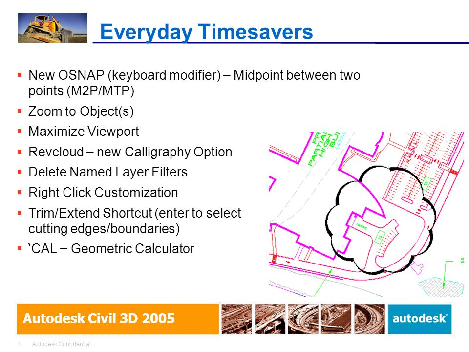 Everyday Timesavers New OSNAP (keyboard modifier) – Midpoint between two points (M2P/MTP) Zoom to Object(s)