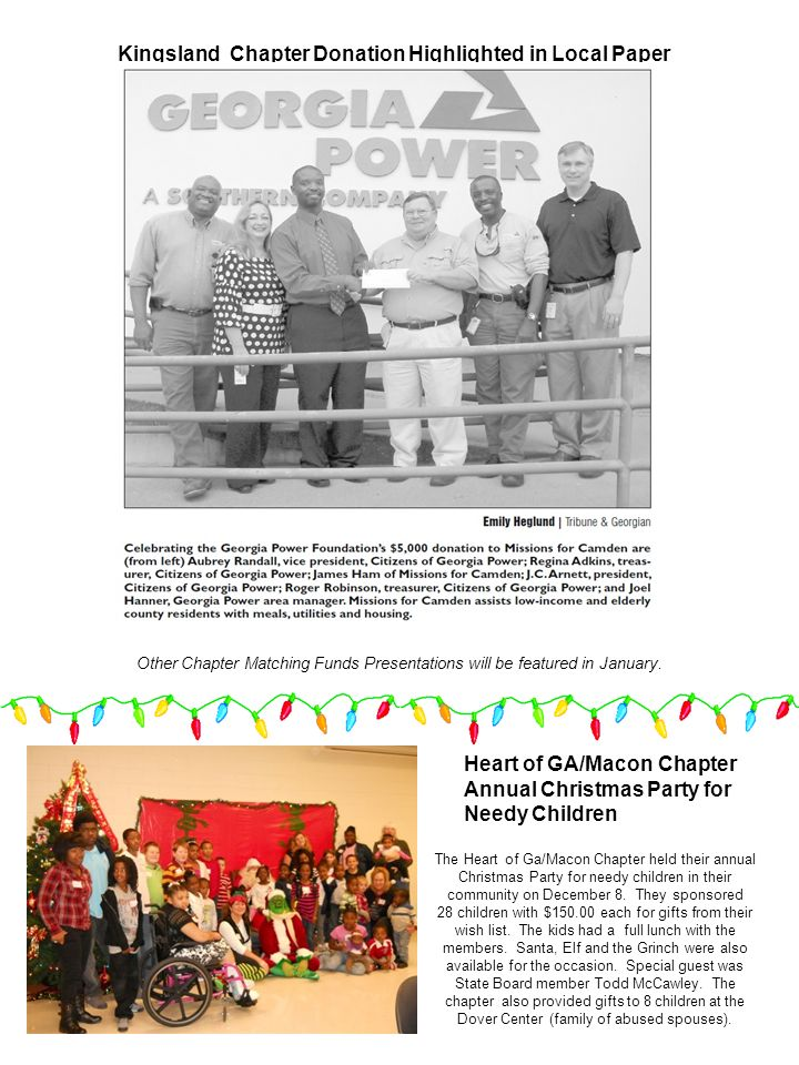 Kingsland Chapter Donation Highlighted in Local Paper