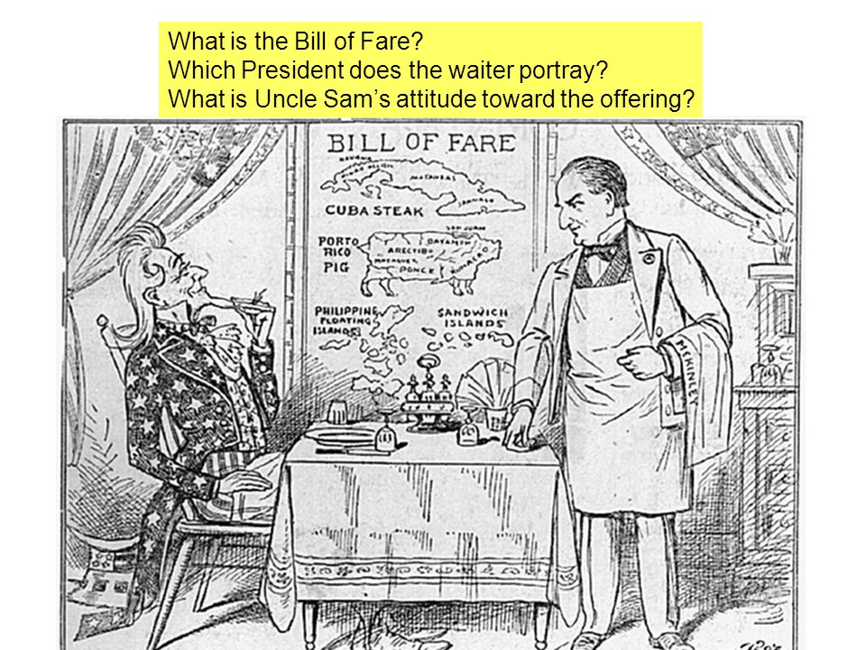 What is the Bill of Fare. Which President does the waiter portray.