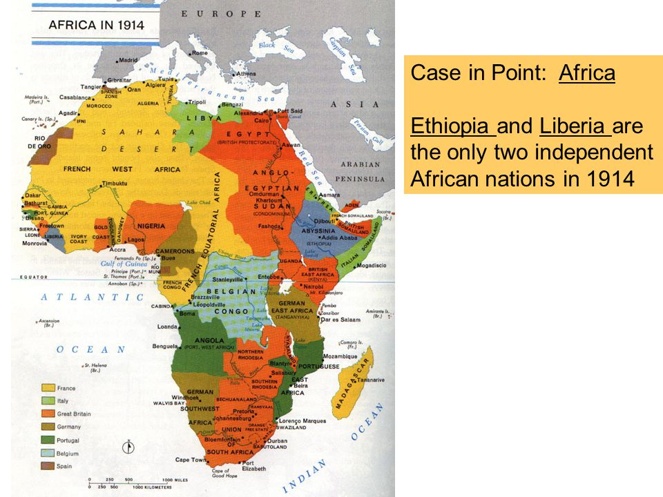 Case in Point: Africa Ethiopia and Liberia are the only two independent African nations in 1914