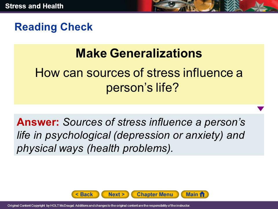 How can sources of stress influence a person's life