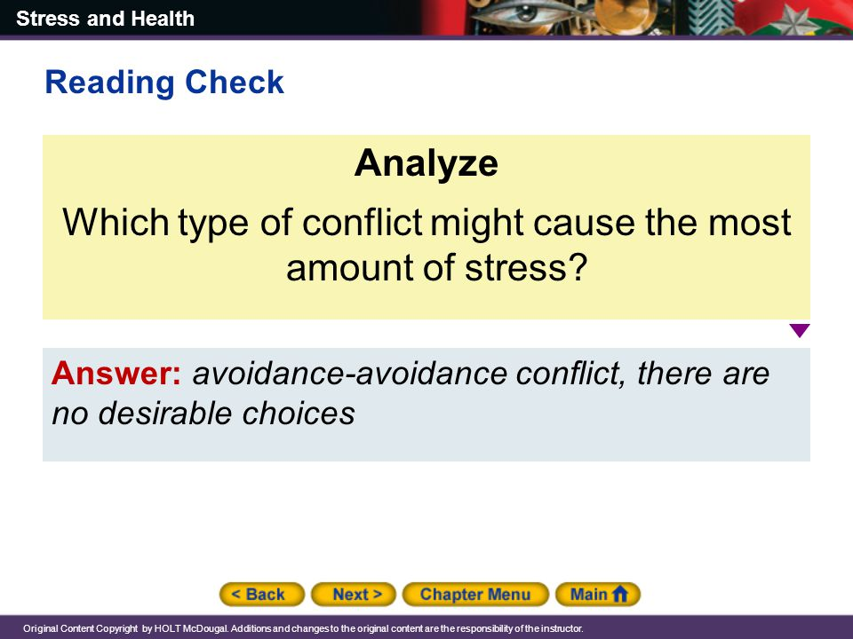 Which type of conflict might cause the most amount of stress