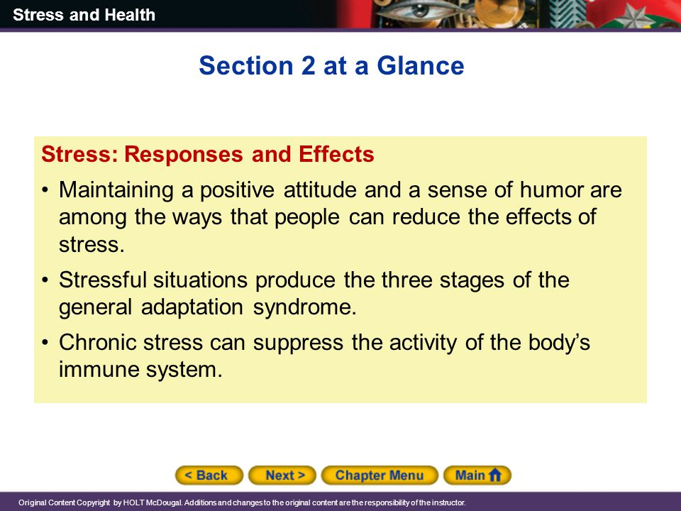 Section 2 at a Glance Stress: Responses and Effects