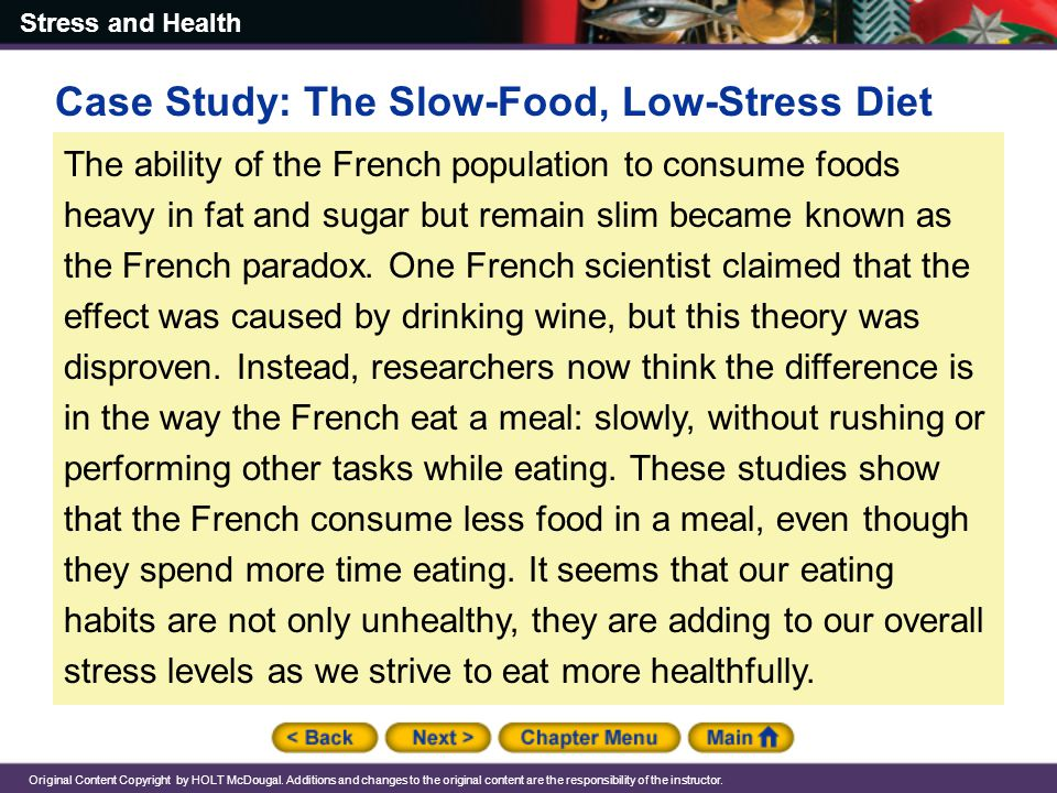 Case Study: The Slow-Food, Low-Stress Diet