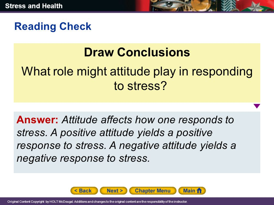 What role might attitude play in responding to stress