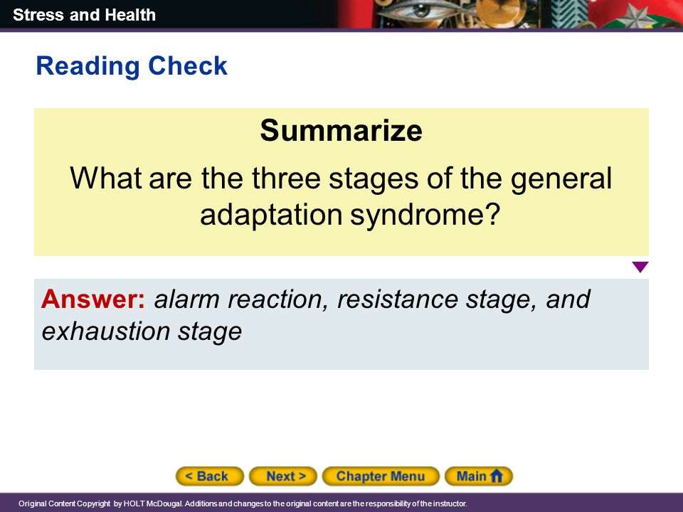 What are the three stages of the general adaptation syndrome