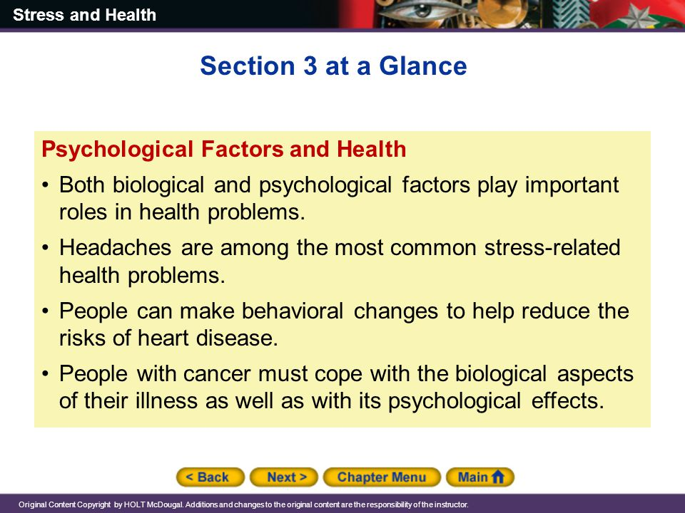 Section 3 at a Glance Psychological Factors and Health