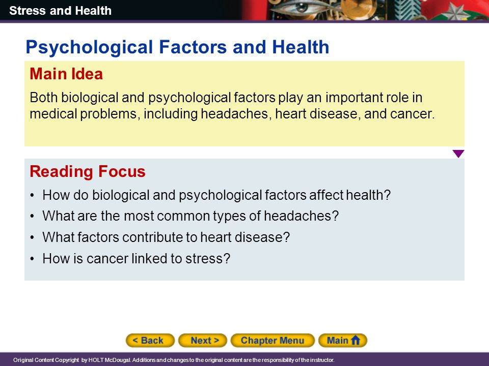 Psychological Factors and Health