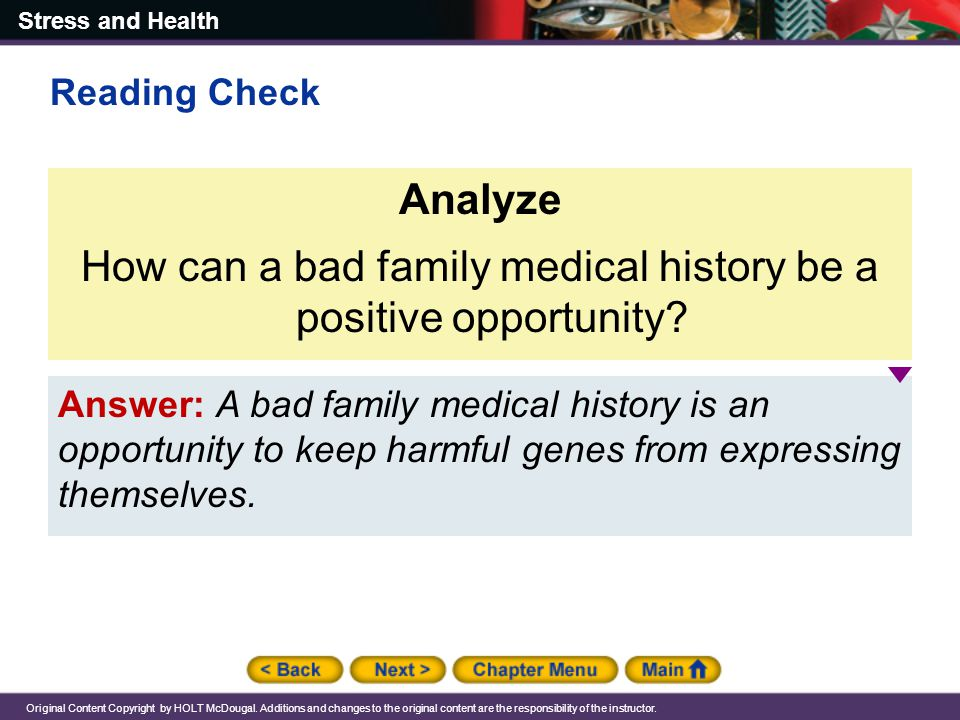 How can a bad family medical history be a positive opportunity
