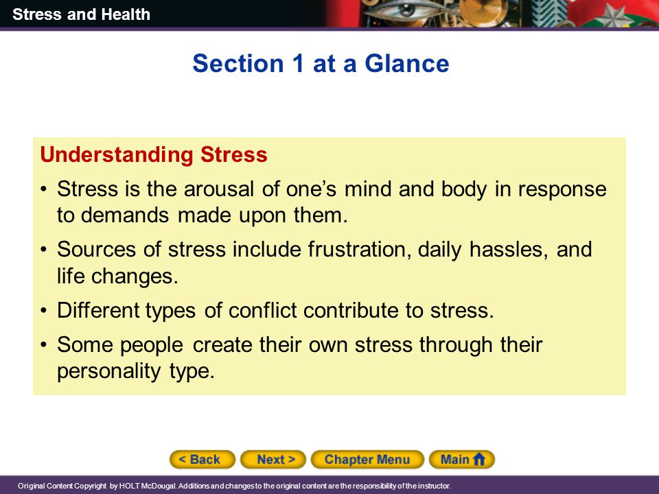 Section 1 at a Glance Understanding Stress