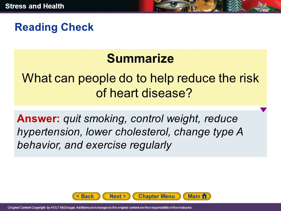 What can people do to help reduce the risk of heart disease
